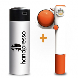 Set Handpresso Pump Pop Orange und Thermosflasche Weiß
