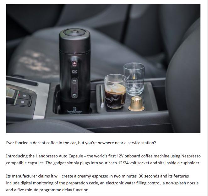 It S The In Car Espresso Coffee Machine